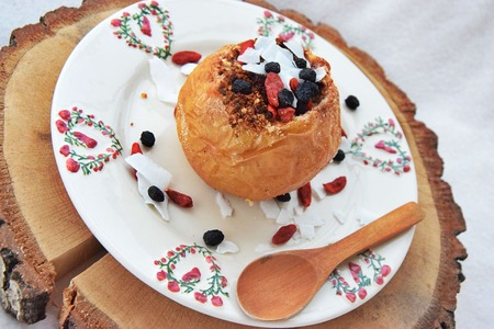Baked apples with almond and coconut stuffing