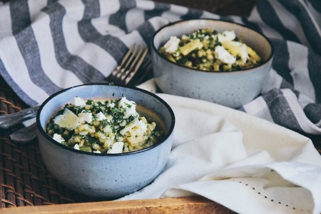 Spring inspired orzotto with leek and mangold