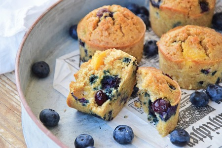 Basic muffin recipe with blueberries and nectarine